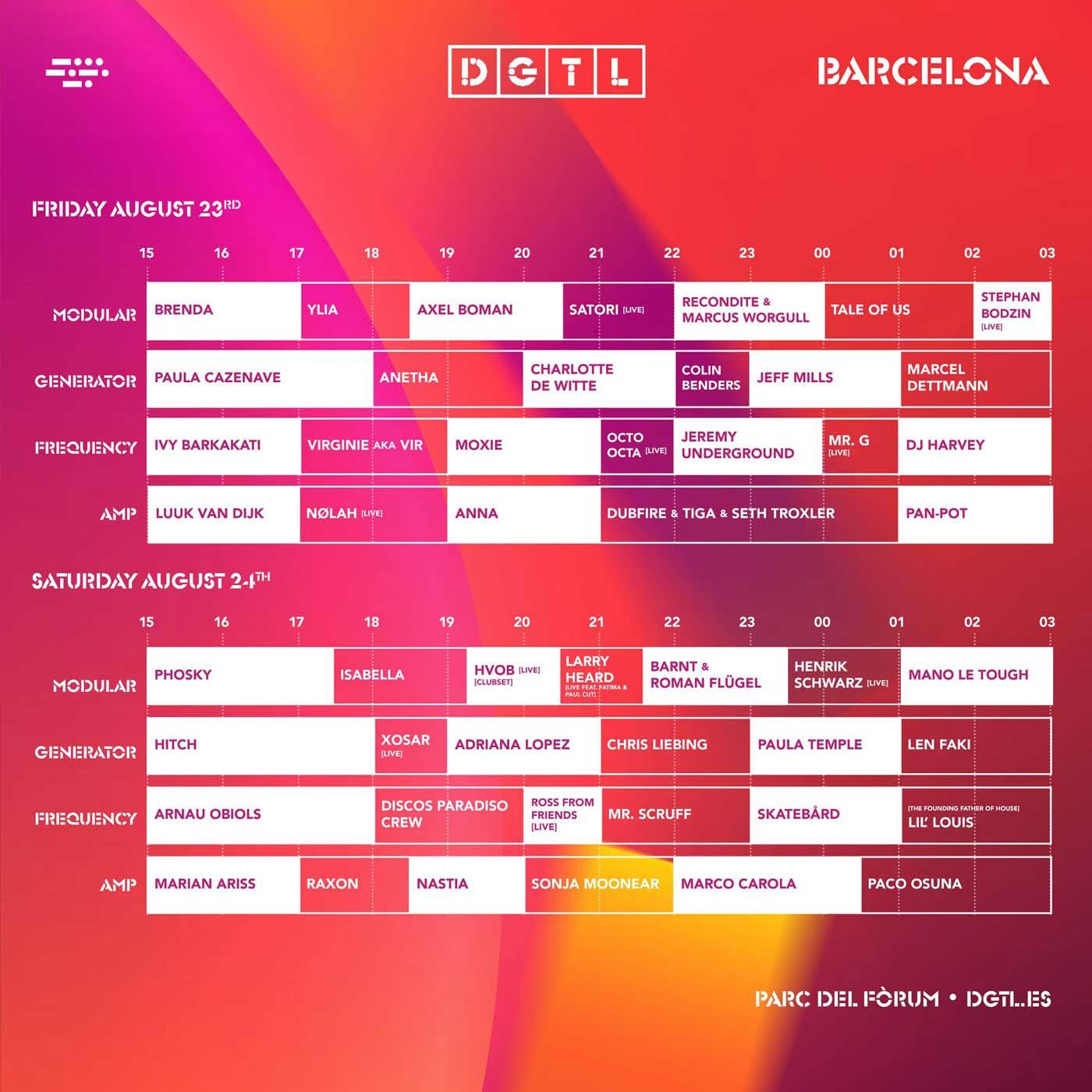horarios dgtl 2019