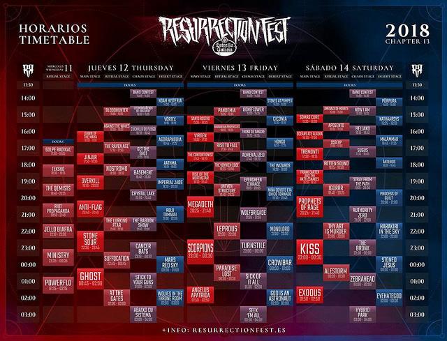 El Resurrection Fest anuncia sus horarios
