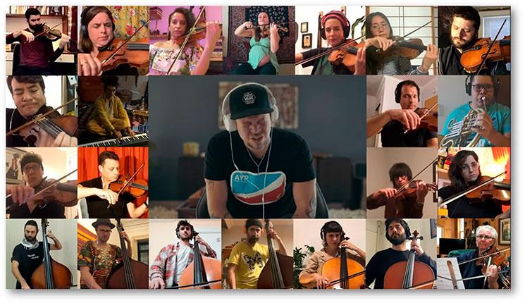 """Residente interpreta """"René (edición Cuarentena)"""" con treinta músicos"""