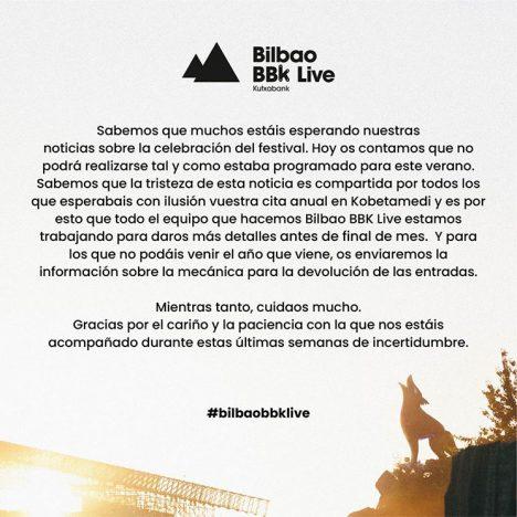 Comunicado BBK Live